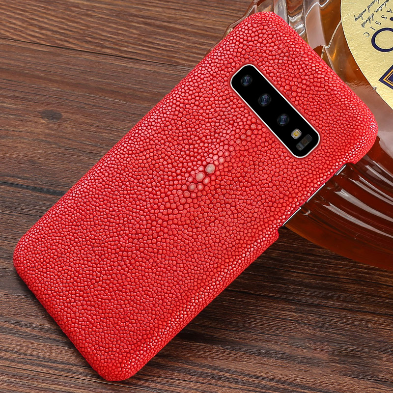 Genuine stingray leather phone Cover for Samsung Galaxy s10 plus phone case luxury Black case stingray capa for SamsungS10