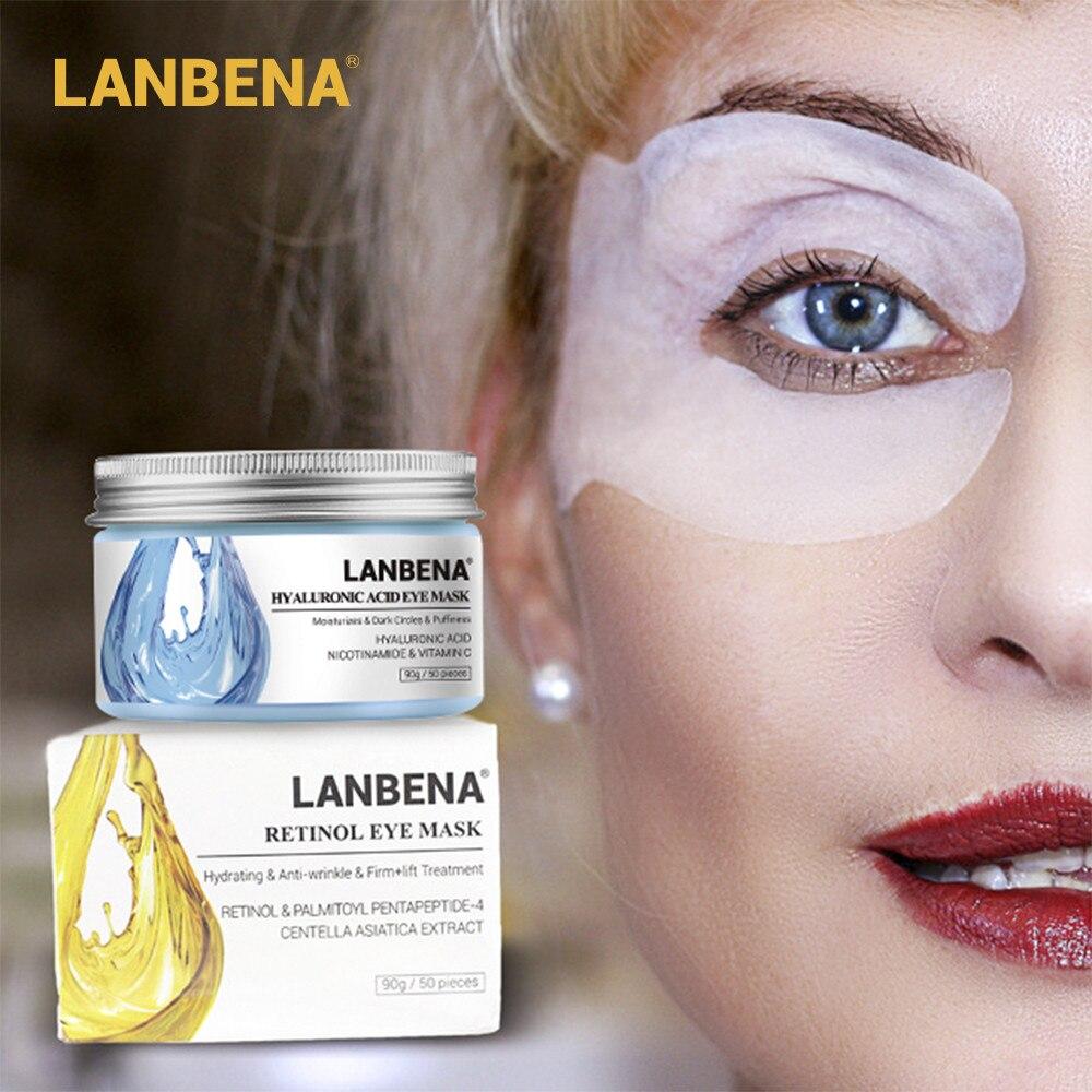 LANBENA Retinol máscara de ojo ácido hialurónico ojo parches suero reduce círculos bolsas ojo líneas reparación nutrir reafirmante cuidado de la piel