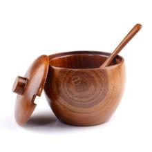 3 unids/set Buena calidad de la madera natural vajilla tazón olla con salsa de suministros de cocina especias tarro condimento salero caja estaño