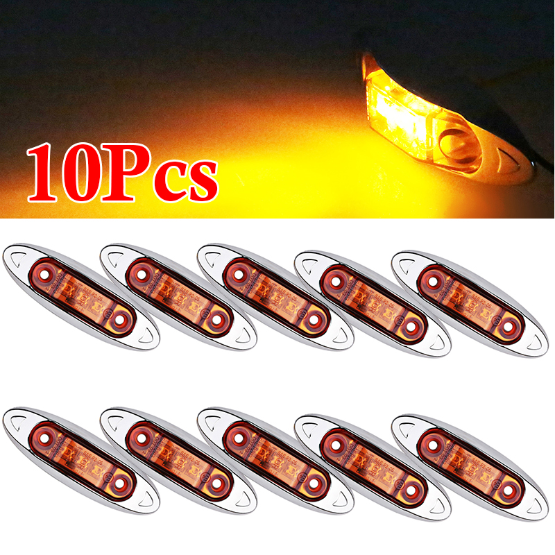 10pcs 3 LEDs Truck Trailer Side Marker Clearance Fish Shape Van Amber LED Lamp Light Plating Plate Car Accessories