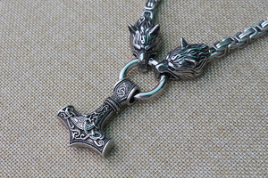 Image 3 - Men stainless steel necklace viking wolf head with thors hammer mjolnir pendant norse talisman ethnic jewelry