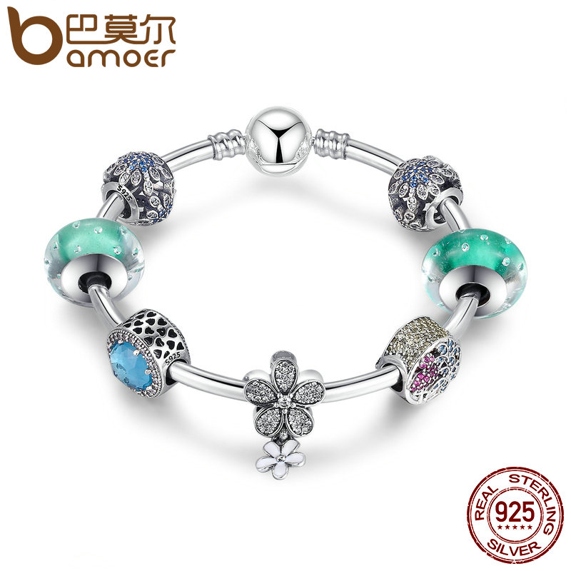 Здесь продается  BAMOER 925 Sterling Silver Blooming Daisy,Tropical Flamingo, Light Green Crystals Charm Bracelets Sterling Silver Jewelry PSB017  Ювелирные изделия и часы