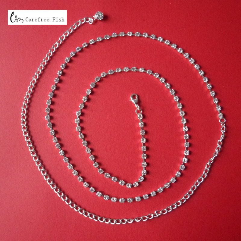 New arrival sparkling rhinestone single row chain all-match belly dance diamond <font><b>belt</b></font> female image