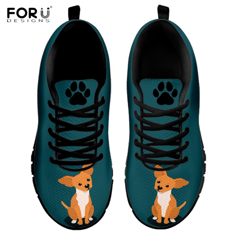 FORUDESIGNS Cute Cartoon Dog/Puppy Chihuahua Paw Pattern Woman's Flats Shoes Breathable Autumn Sneakers Lightweight Female Flat