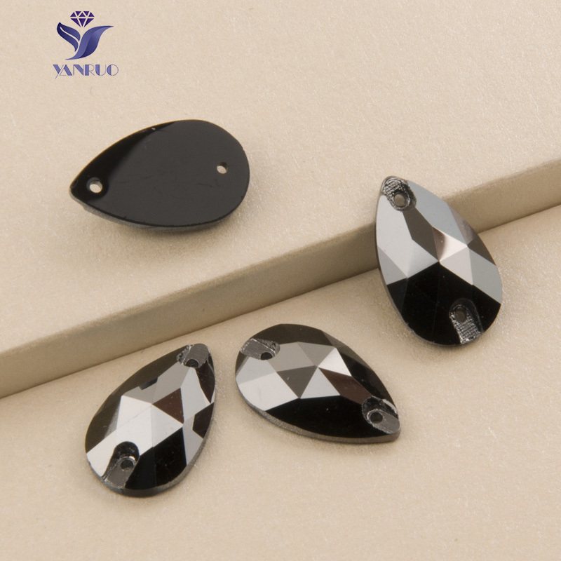 YANRUO 3230 Drop Jet Hematite Sy På Stones Krystaller Glass Rhinestones Sy Rhinestone Stones For Clothes Dress Garment