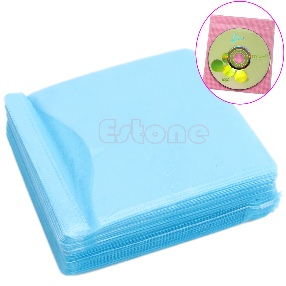 Hot 100pcs CD DVD Disc Double Side Cover Storage Case PP Bag Sleeve Holder Pack
