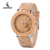 2017 BOBO BIRD E20 Wooden Watches Fashion Casual Women Deer Pattern Dial Face With Leather Band