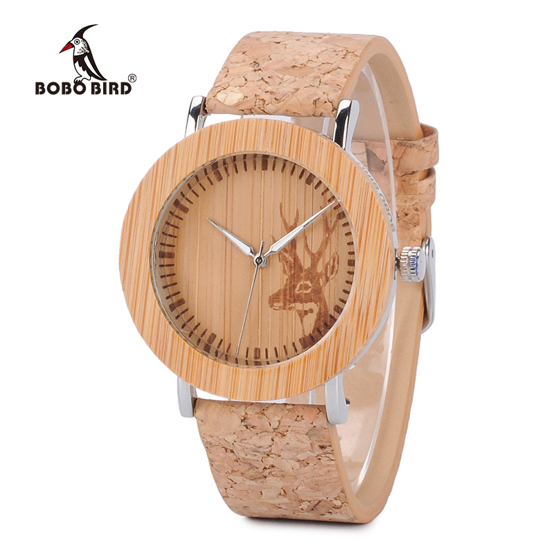 BOBO BIRD L-E20 Wooden Watches Fashion Casual Women Deer Pattern Dial Face with Leather Band Mujer Clock in Gift Box bobo bird brand new sun glasses men square wood oversized zebra wood sunglasses women with wooden box oculos 2017