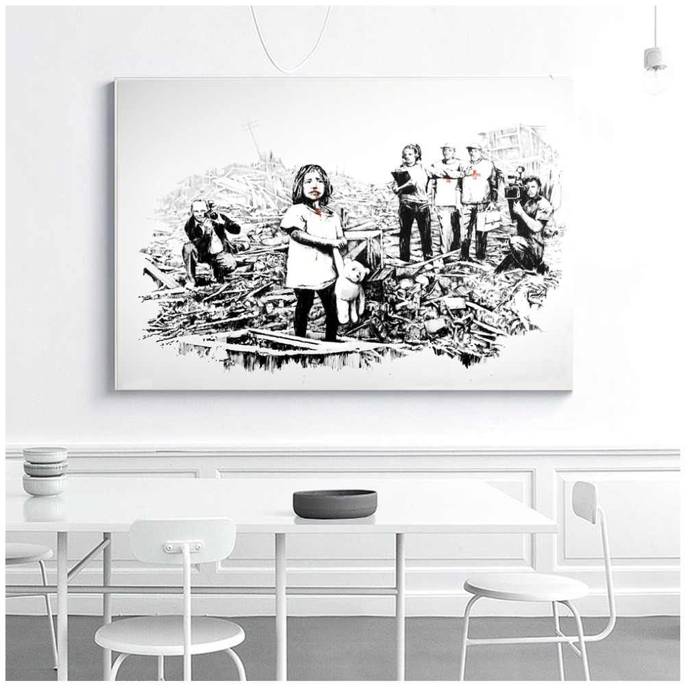 BANKSY Graffiti Street Wall Art Girl in disaster Canvas Art Print Poster, Pictures Painting For Living Room Wall Decor
