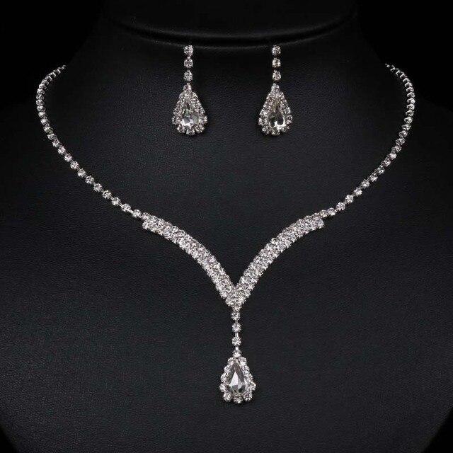 Fashion Wedding Jewelry Sets V Shaped Teardrop Rhinestone Pha Lê Choker Necklace Earrings Bộ Bạc Mạ Bridal Bộ Đồ Trang Sức