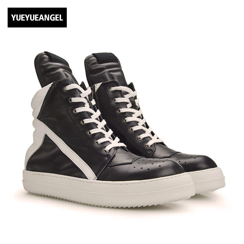 Men Shoes 2018 New High-Top Ankle Boots Genuine Leather Luxury Trainers Boots Casual Lace-up Zipper Flat Black White Shoes owen seak women shoes high top ankle boots genuine leather luxury trainers sneaker casual lace up zip flat shoes black white big