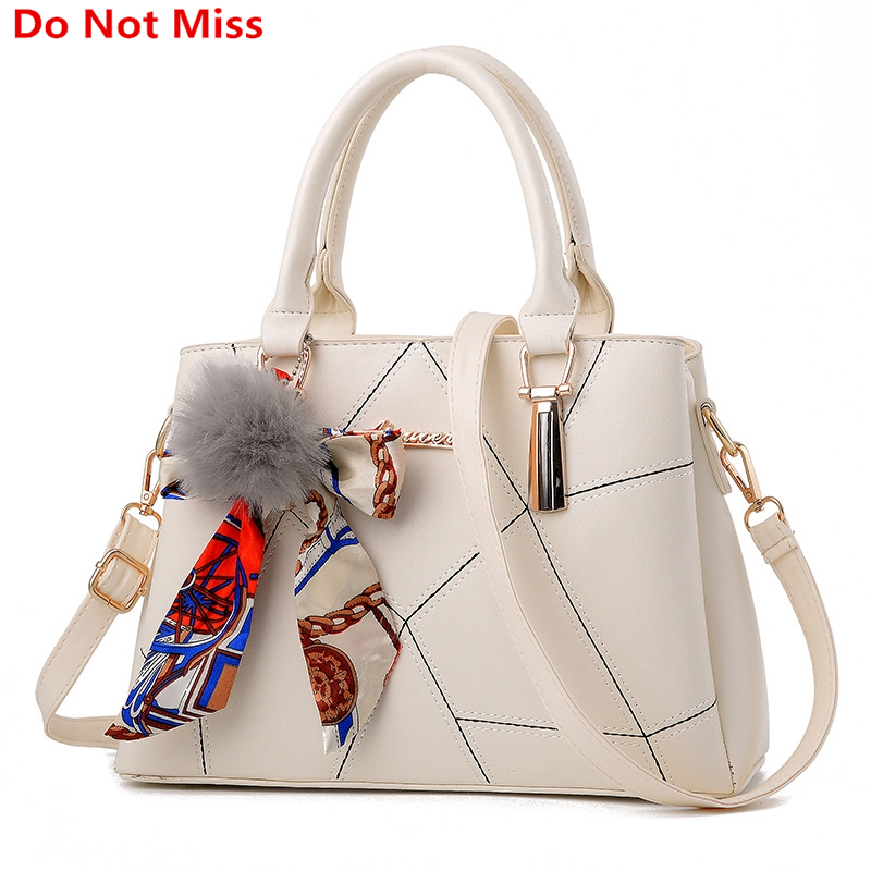 New 2017 Sweet Lady Scarves Handbags Designers Fashion White Shoulder Bag High Quality PU Leather Totes for Female Messenger Bag 2017 fashion new handbags sweet lady candy color plush small round bag high quality soft cute shoulder bag chain messenger bag