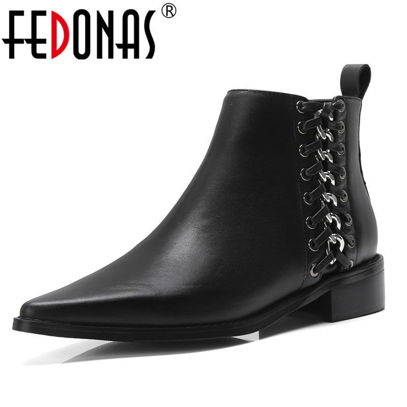FEDONAS Fashion Women Ankle Boots Autumn Winter Warm Genuine Leather Square Heels Shoes Woman Metal Decoration Motorcycle BootsFEDONAS Fashion Women Ankle Boots Autumn Winter Warm Genuine Leather Square Heels Shoes Woman Metal Decoration Motorcycle Boots