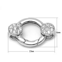 Micro Pave CZ Zircon 925 Sterling Silver Round Spring Lock Clasps Connectors For DIY Pearl Gemstone