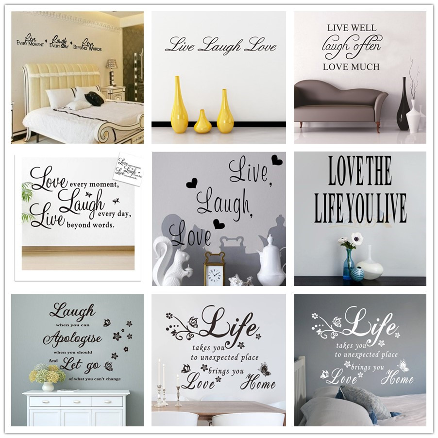 US $0.58 41% OFF|% live laugh love quotes wall stickers Home Decoration  bedroom Vinyl Decals Art Sticker Wall Poster Bathroom butterfly flowers-in  ...