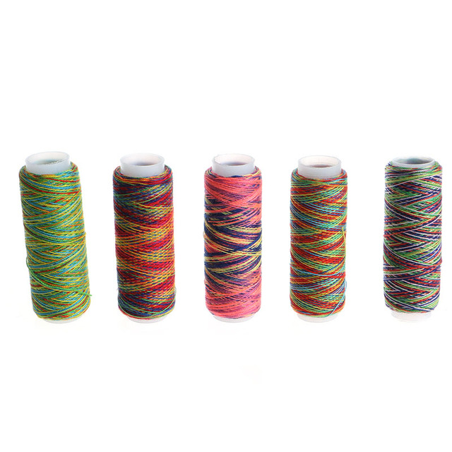 5PCS Sewing Machine Threads Overlocking String Polyester Colorful All  Purpose Sewing Threads Apparel Sewing Fabric Arts