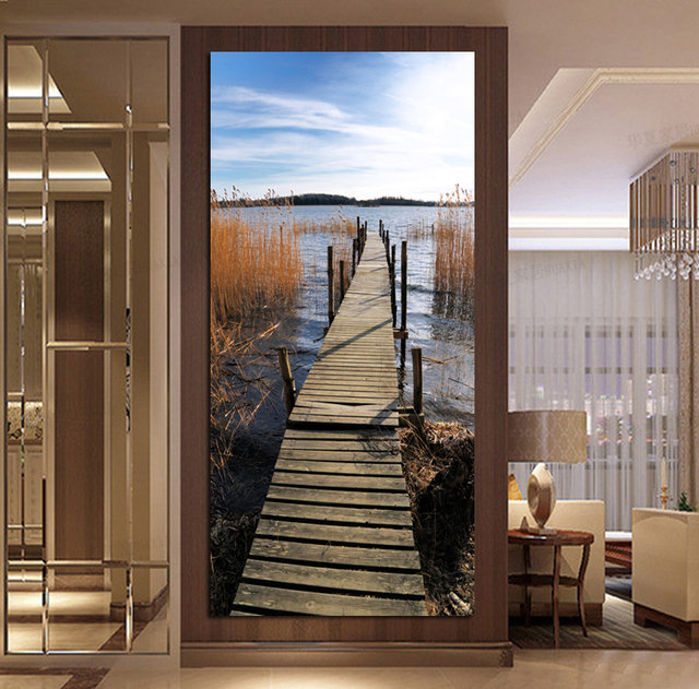 No Frame Lakeside Reed Landscape Poster Modern Canvas Painting For