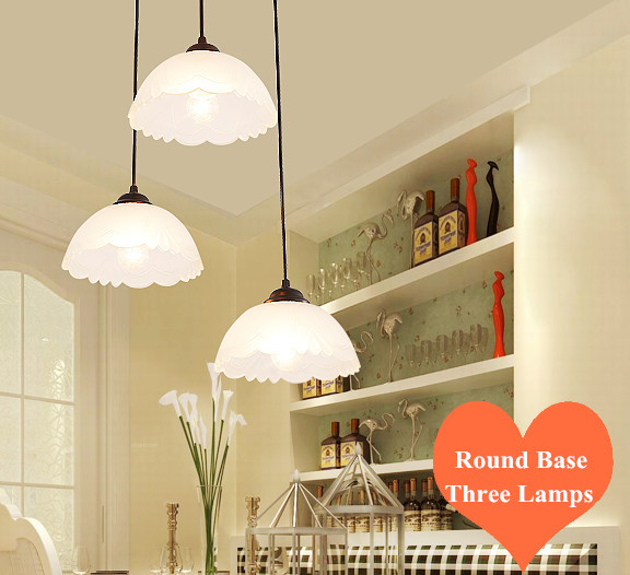 ФОТО European brief carved frosted glass Pendant Lights Classical E27 LED round base three lamps fixture for parlor&pavilion ZLDD081