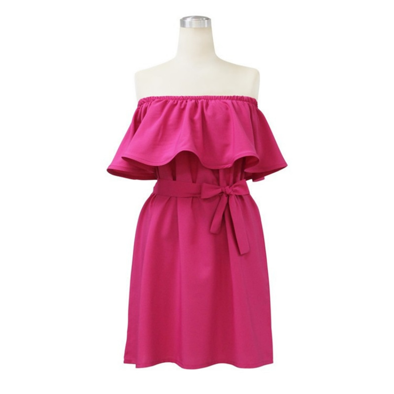 Summer Women Ruffled Dress Evenning Mini Off-shoulder Solid Loose Casual Sexy Dress