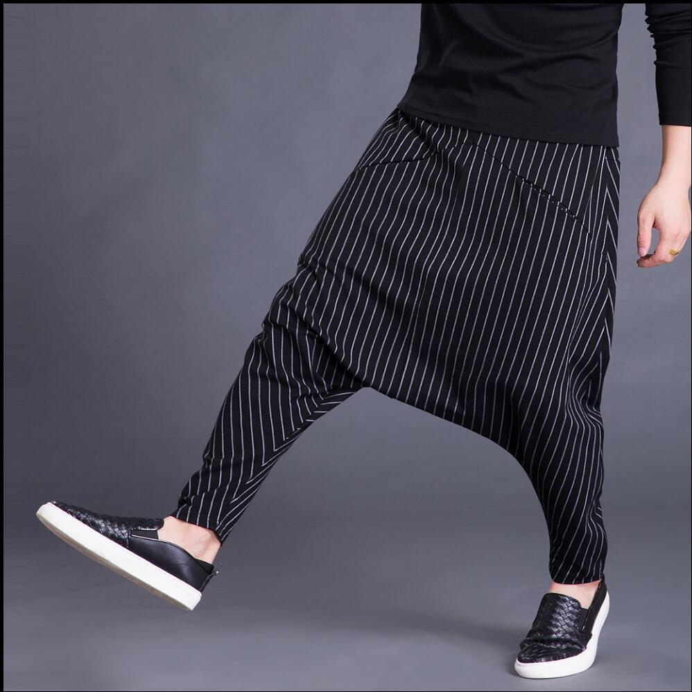 S-5xl New Winter Men Casual Loose Stripe Harem Pants Large Crotch Pants Hairstylist Tide Fashion Low Crotch Cross Pants Trousers