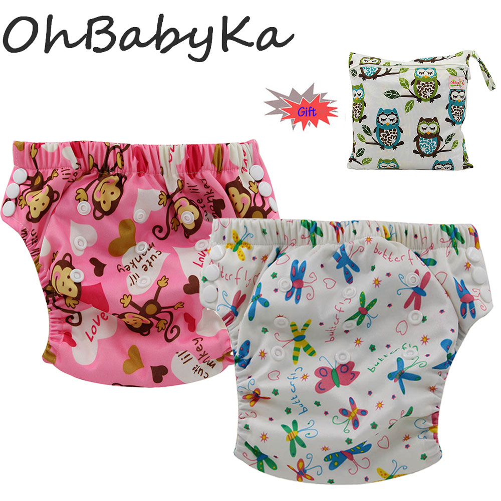 Ohbabyka 2Pcs Bamboo Training Pants Baby Cloth Nappy Size Adjustable Potty Training Pants Absorbent Diapers With 1 Diaper Bag