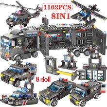 1102 1122pcs policja miejska Station Building Blocks City Truck SWAT Team cegły edukacyjne zabawki dla chłopców dzieci