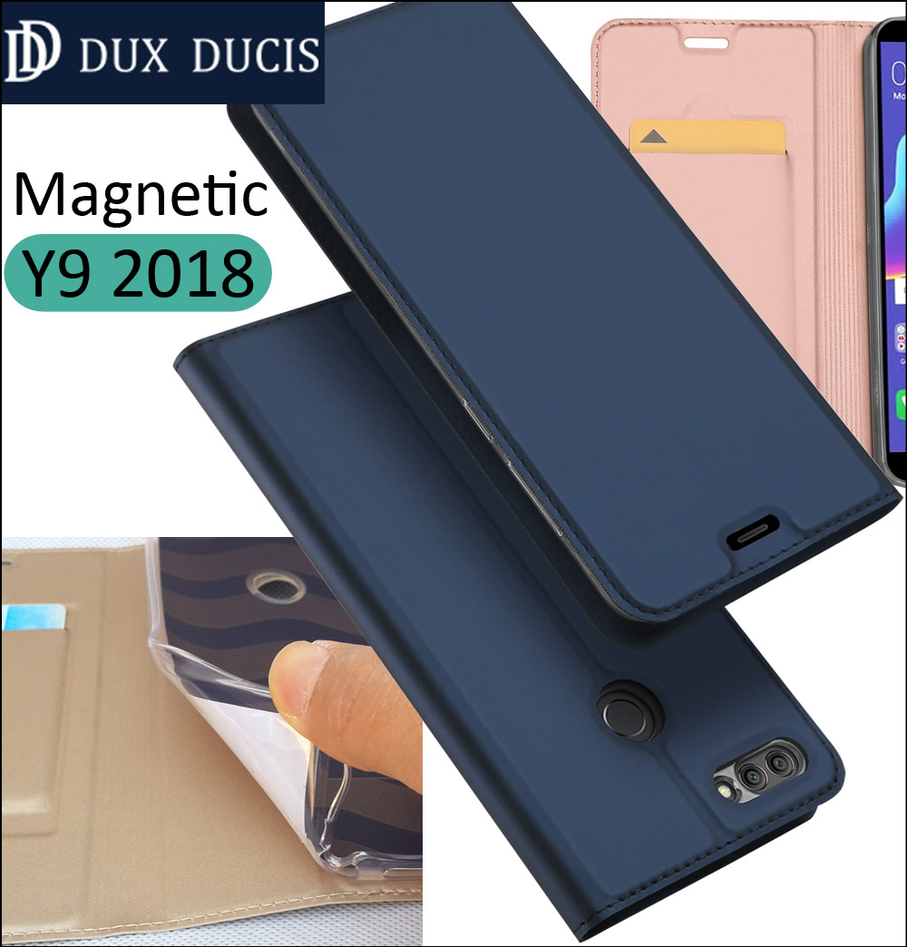 D'origine DUX DUCIS Cas Couverture Pour Huawei Y9 2018 Flip Book Portefeuille En Cuir Profiter 8 Plus Coque
