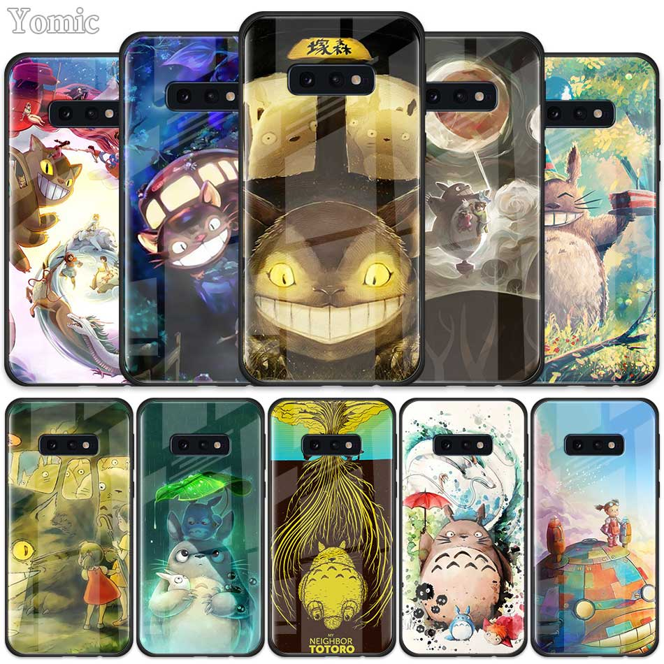 Studio Ghibli <font><b>Cute</b></font> Ghiblies totoro Tempered Glass <font><b>Case</b></font> for <font><b>Samsung</b></font> <font><b>Galaxy</b></font> S20 S10 S10e S9 S8 Plus A50 <font><b>A70</b></font> Note 10 5G Phone Cover image