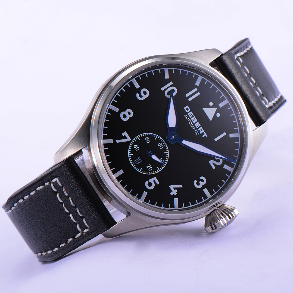 42mm Black Dial Blue Hands Sapphire Crystal Leather Strap Automatic Men Watch