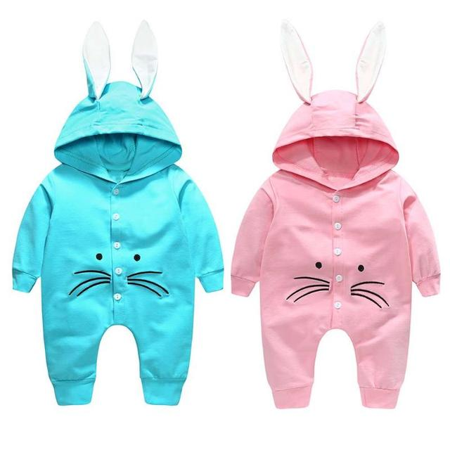 94218cafd7ae Autumn baby warm bunny ear rompers winter infant cute rabbit style hooded  jumpsuit newborn outfits crawling
