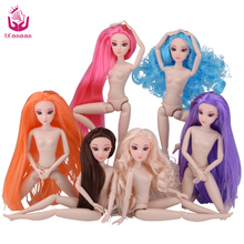 Color Hair 1 PC Nude Doll with Head for Barbie Dolls 12 Joint Moving Naked Bodies DIY Toys Accessories Birthday Gift for Girl