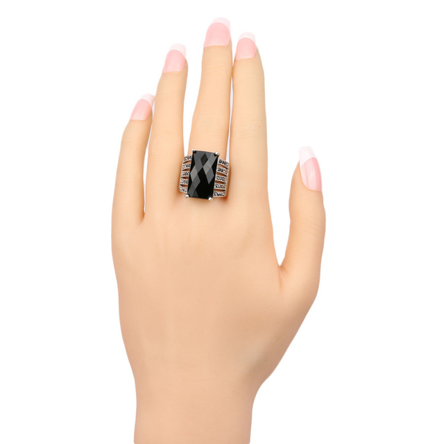 New 2016 OL Fashion Jewelry Vintage Look Black Ring Mosaic Big Square Glass Drill Silver Plated Punk Rings For Women Love Gift