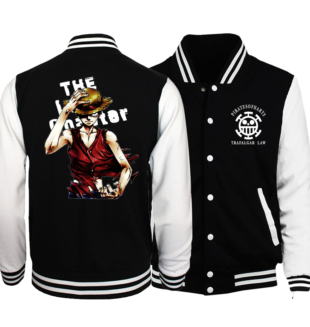 Japanese Anime One Piece Luffy Men Coat 2018 Spring New Arrival One Piece Baseball Jackets Fashion Men Tracksuit Plus Size S-5XL