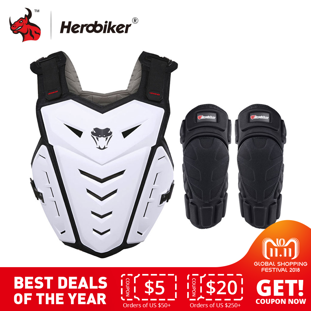 HEROBIKER Motorcycle Armor Vest Motorcycle Riding Chest Armor Motocross Off-Road Racing Vest + Motorcycle Knee Pads herobiker motorcycle armor chest back body armor vest motocross protective gears vest motorcycle jacket moto waistcoat l xl