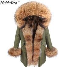 Maomaokong-abrigo de piel auténtica de zorro para mujer, chaqueta de invierno, Parka larga, Cuello de piel de mapache Natural, capucha gruesa y cálida, Parkas con forro de piel Real