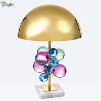 Luxury Plate Gold Metal Table Lamp Deco Acrylic Balls Led Table Light Marble Base Desk Lamp