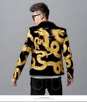 Золотой Дракон шаблон вышивка сценический костюм куртка для мужчин модный дизайнерский блейзер для клубной вечеринки с диджеем Выпускной