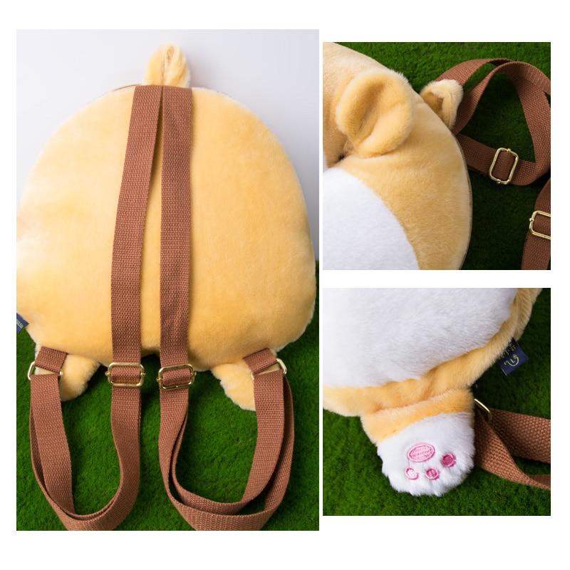 MSMO Chibi Corgi Butt Backpack პატარა Cute Pet Dog Plush - ზურგჩანთა - ფოტო 6