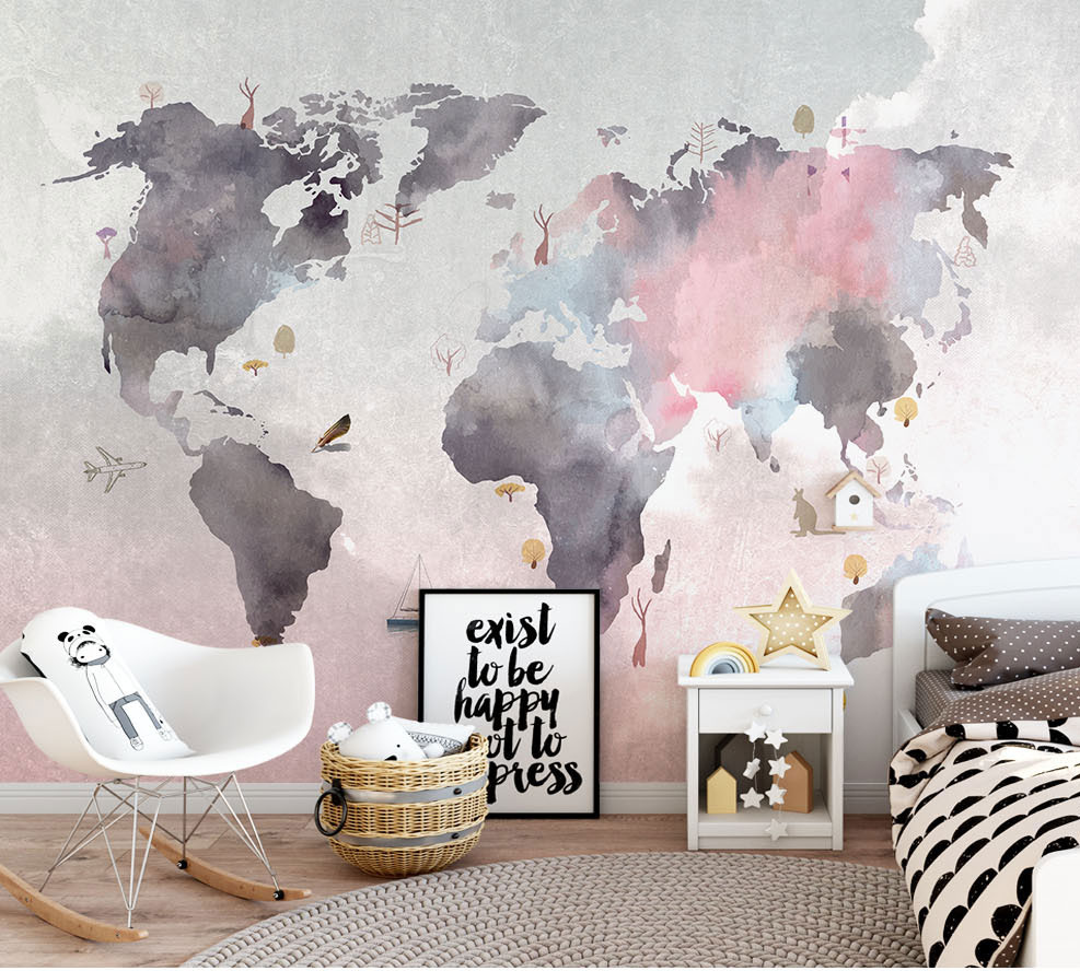 8D Paint Abstract World Map Wallpaper Mural for Baby Child Room Sofa Backaground 3d Photo Mural 3d Wall Mural 3D Map Wall paper lavender windmill natural landscape vintage 3d room photo wallpaper for 3d livingroom wall paper prints kids wall mural rolls