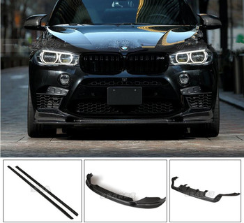 Carbon Fiber BUMPER SPOILER FRONT LIP SPLITTERS+REAR TRUNK DIFFUSER+SIDE SKIRT FOR BMW X6 F16 X6M M-Sport 2015 2016 2017 2018 image