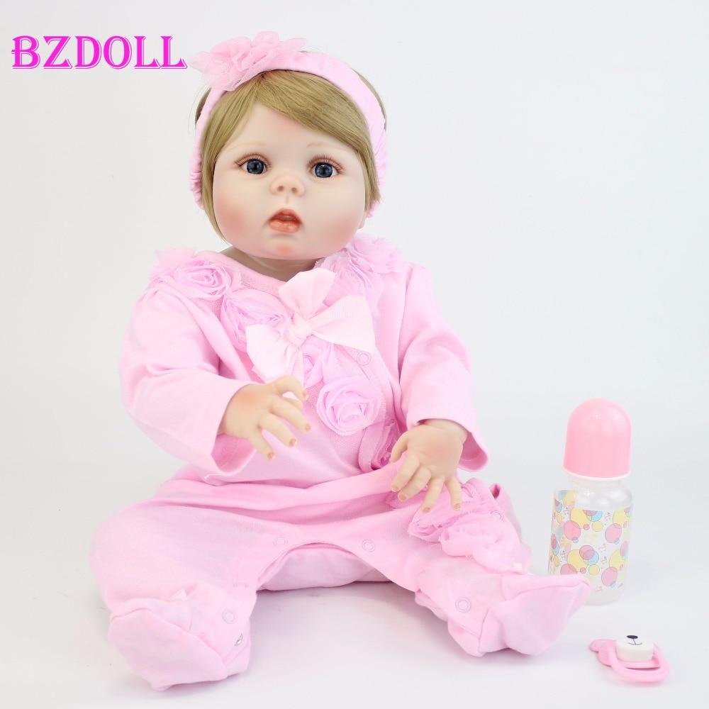 55cm Full Body Silicone Reborn Baby Dolls Toys Lifelike 22 Bebes Alive Vlnyl Newborn Dolls Girls