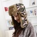 New Camouflage Bomber Hat For Women Men Winter Hats Windproof gorro ruso Russian Trapper Aviator Hat Faux Fur Earflap Snow Cap