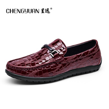 Mens flats luxury Leather Casual shoes blue wine red Crocodile Pattern Loafers Round Leather Shoe blue Footwear men pea Shoes