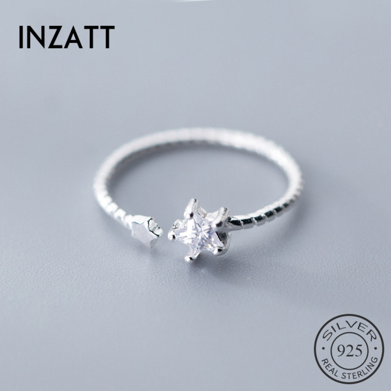 INZATT Real 925% Sterling Silver Zircon Star Opening Ring For Pretty Women Wedding Ring Romantic Fine Jewelry Fashion 2019 Gift