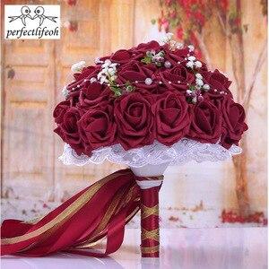 Image 3 - Perfectlifeoh düğün buket El Yapımı Çiçekler Dekoratif Yapay Gül Çiçek Inciler Gelin Gelin Aksan Düğün Buketleri
