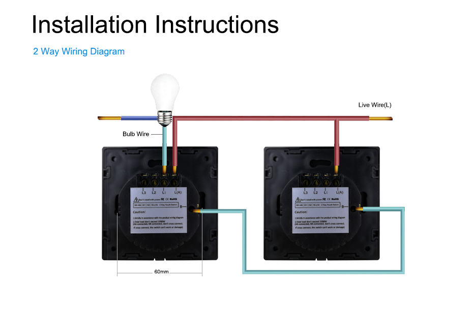 Wallpad K3 3 Gang 2 Way Glass Panel Touch Sensor Switch Intermediate Wall Electrical Light Switch For Uk Eu Aliexpress