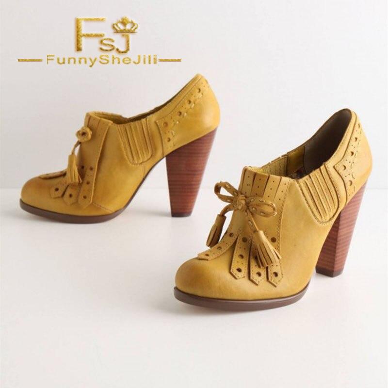 US $79.99 |Yellow Chunky Heel Oxford Pumps Tassels Oxford Heels Vintage Shoes Spring Autumn Anniversary Women Shoes Fashion FSJ Elegant in Women's