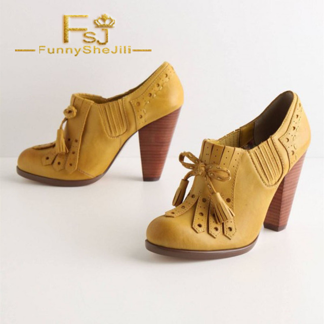 fc33a93827c US $71.99 10% OFF|Aliexpress.com : Buy Yellow Chunky Heel Oxford Pumps  Tassels Oxford Heels Vintage Shoes Spring Autumn Anniversary Women Shoes ...