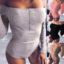 Shoulder long sleeved tight fitting trousers sexy costume Skinny Casual Bodysuits bodycon jumpsuit sexy bodysuit цена 2017