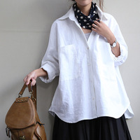 2016 Women Blouse Loose Body Shirt Vintage Long Sleeve Plus Size Casual Linen Shirt Women Blusas